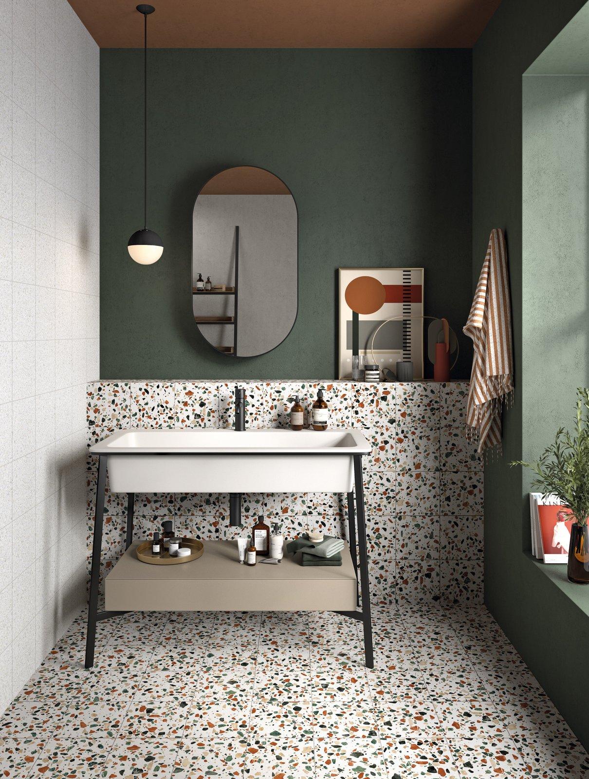 Zielona łazienka z płytkami w lastryko