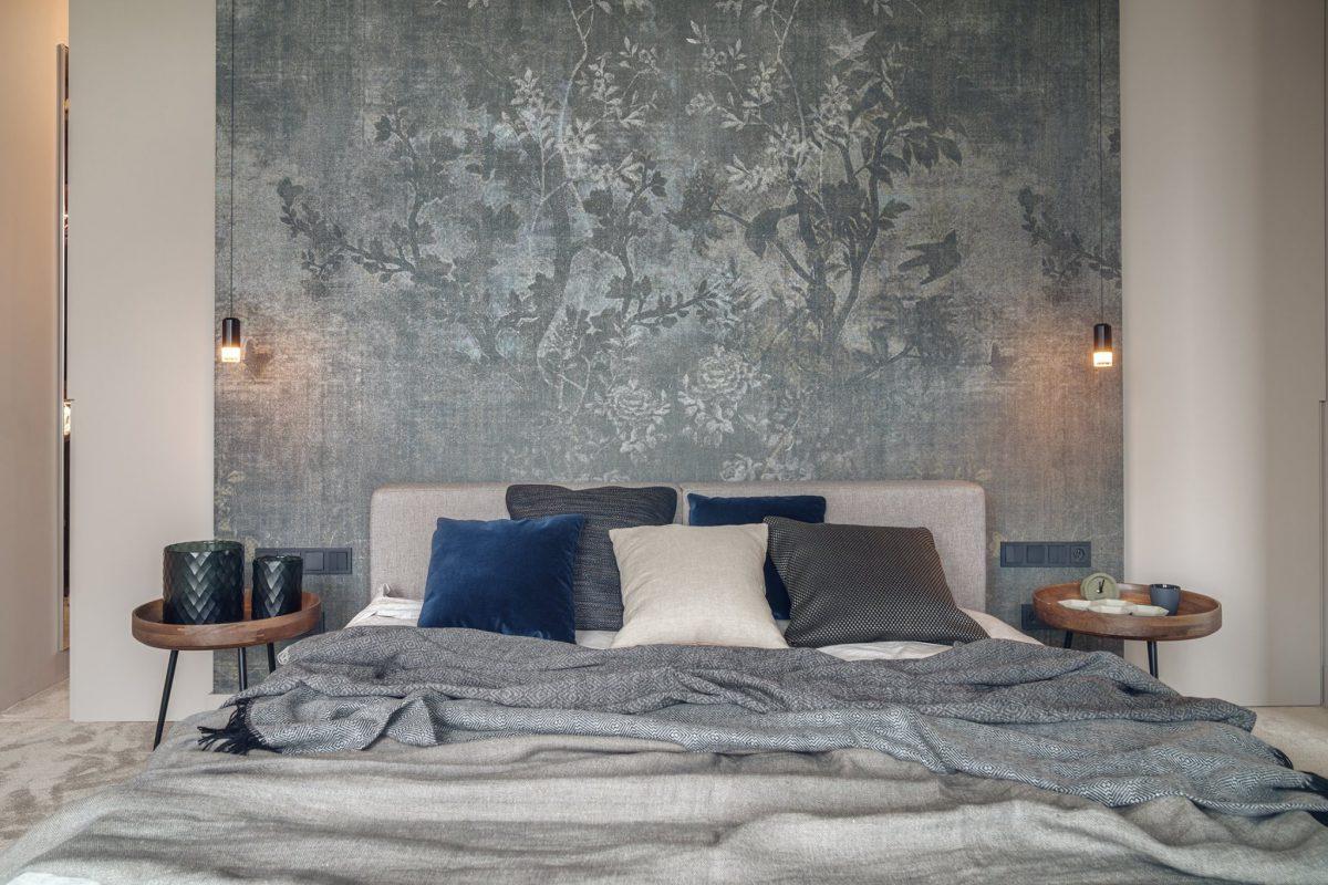 Sypialnia z tapetą od Wall & Deco | proj. Katarzyna Kraszewska, zdj. Tom Kurek