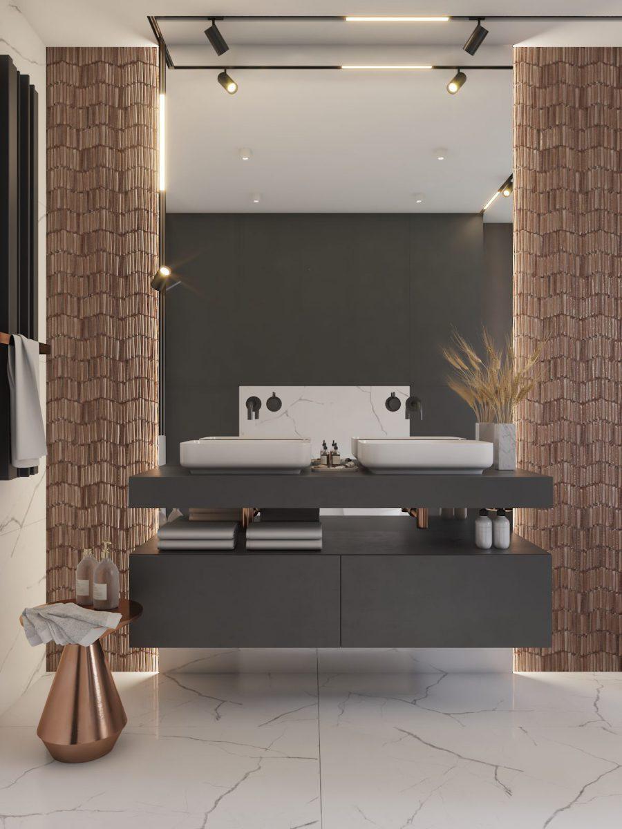 System oświetlenie magnetycznego Archlines marki SternLight w projekcie łazienki biura projektowego Dezeen Architekci Natalia Pęcka