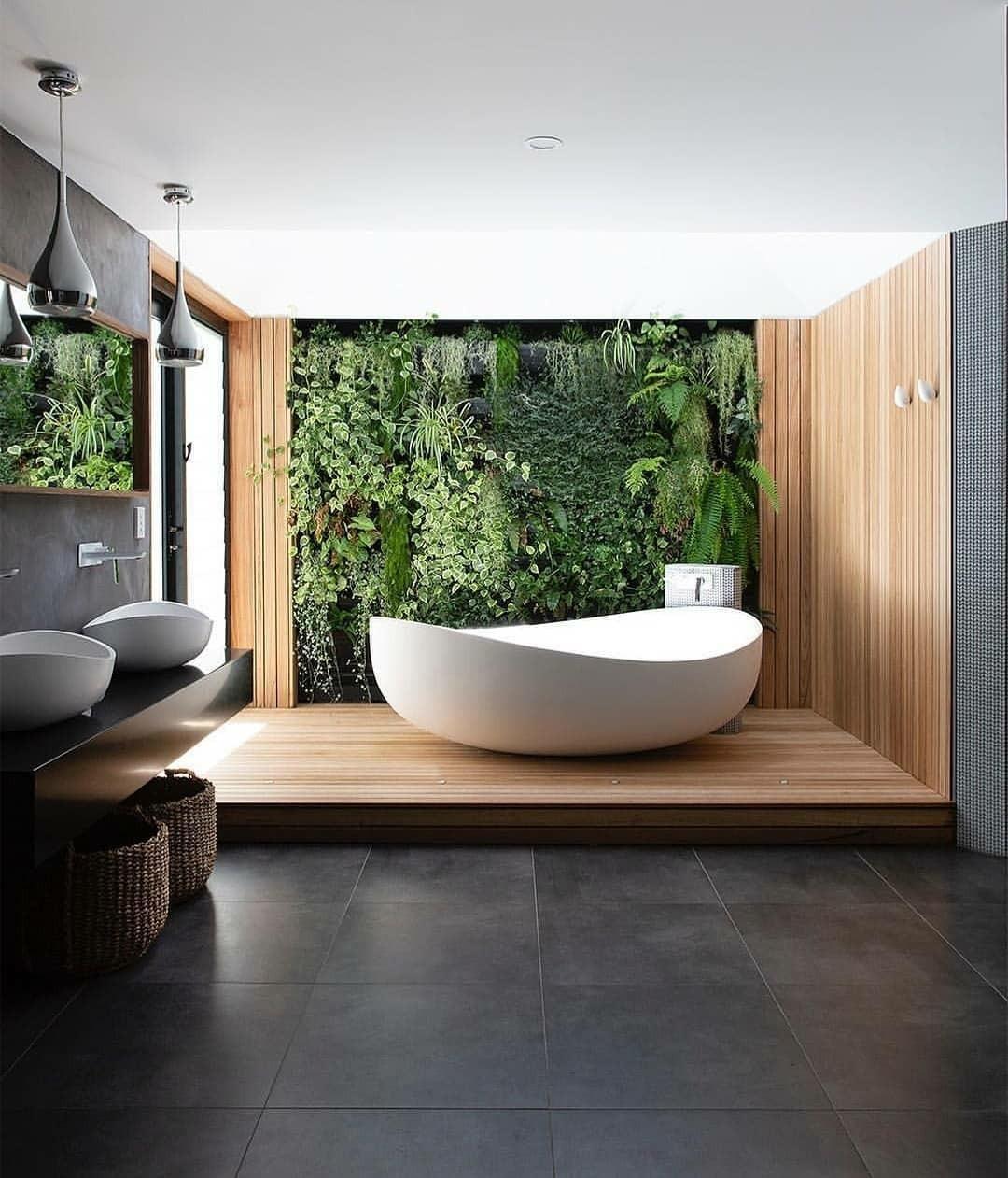 Łazienka zaprojektowana w trendzie biofilic