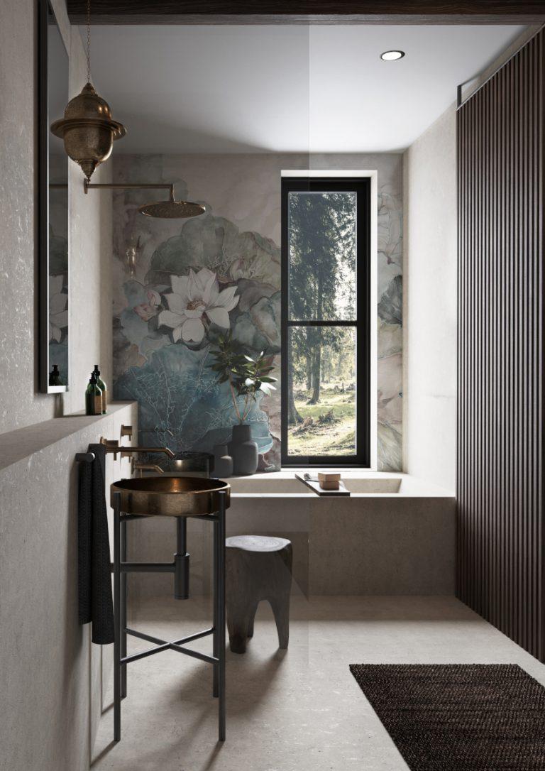 Projekt łazienki z tapetą Małgorzata Niedzielska