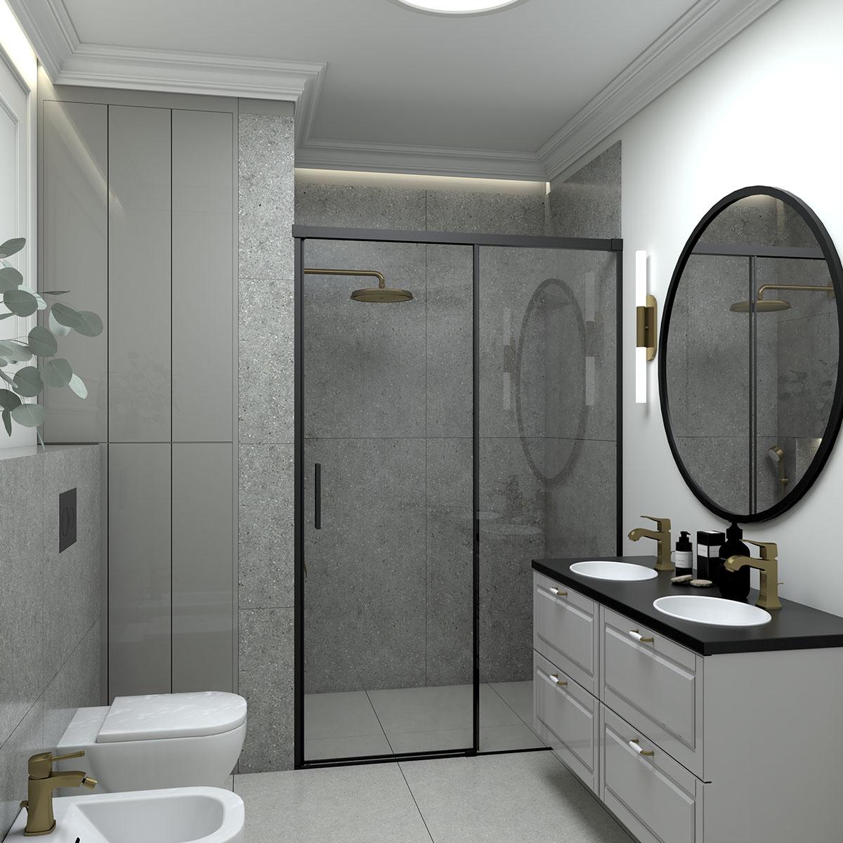Płytki z kolekcji Solid marki Soloss w projekcie łazienki   proj. Magdalena Białek Mada Design