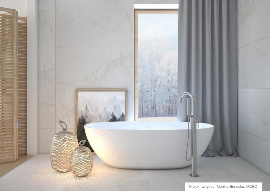 Płytki Marmi Uno marki Ricordena w projekcie łazienki