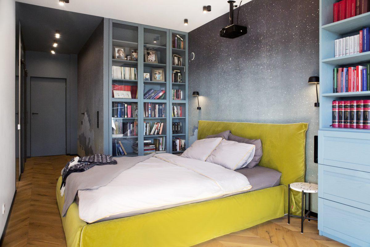 Tapeta od Wall & Deco w sypialni | proj. Ewa Tarapata, zdj. Katarzyna Wrona