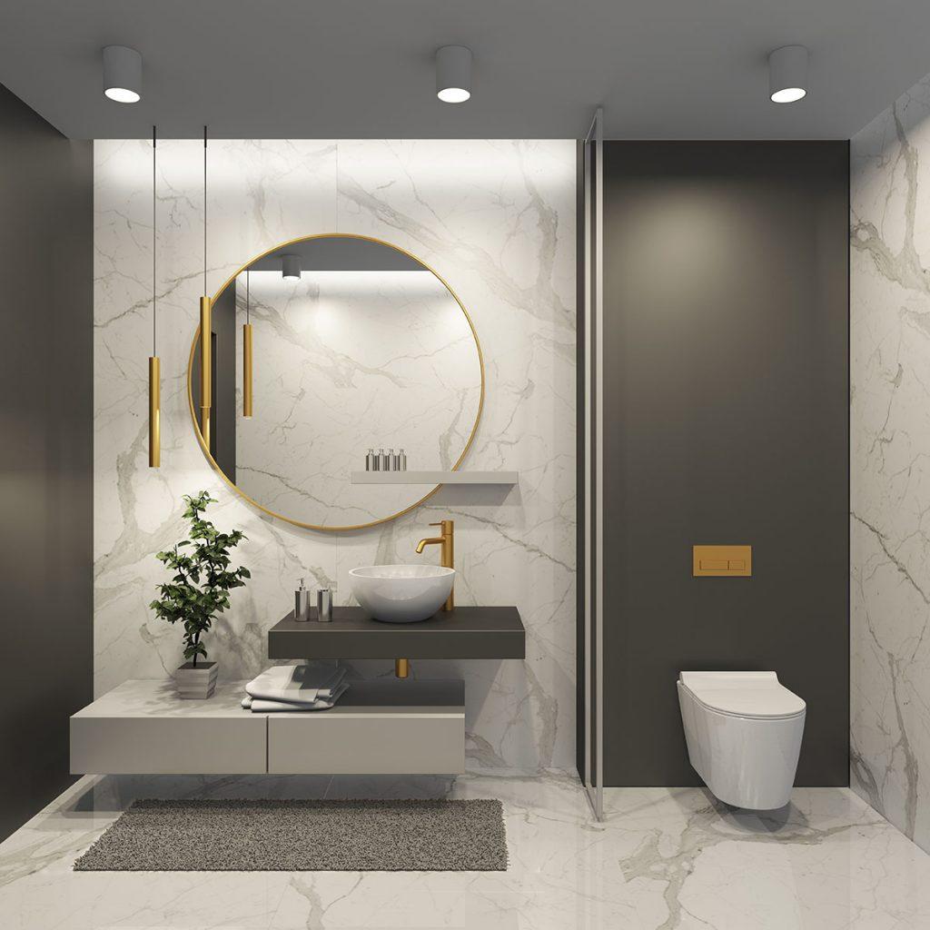 Marmurowe płytki Tower marki Soloss w projekcie łazienki