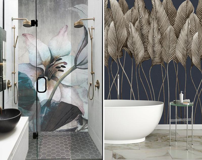Polskie tapety One Wall Design w aranżacjach łazienki: z wanną i prysznicem