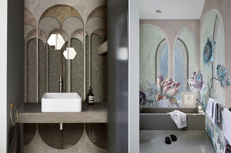 Tapety pozwalają na nietuzinkową aranżację łazienki | źródło: Wall & Deco