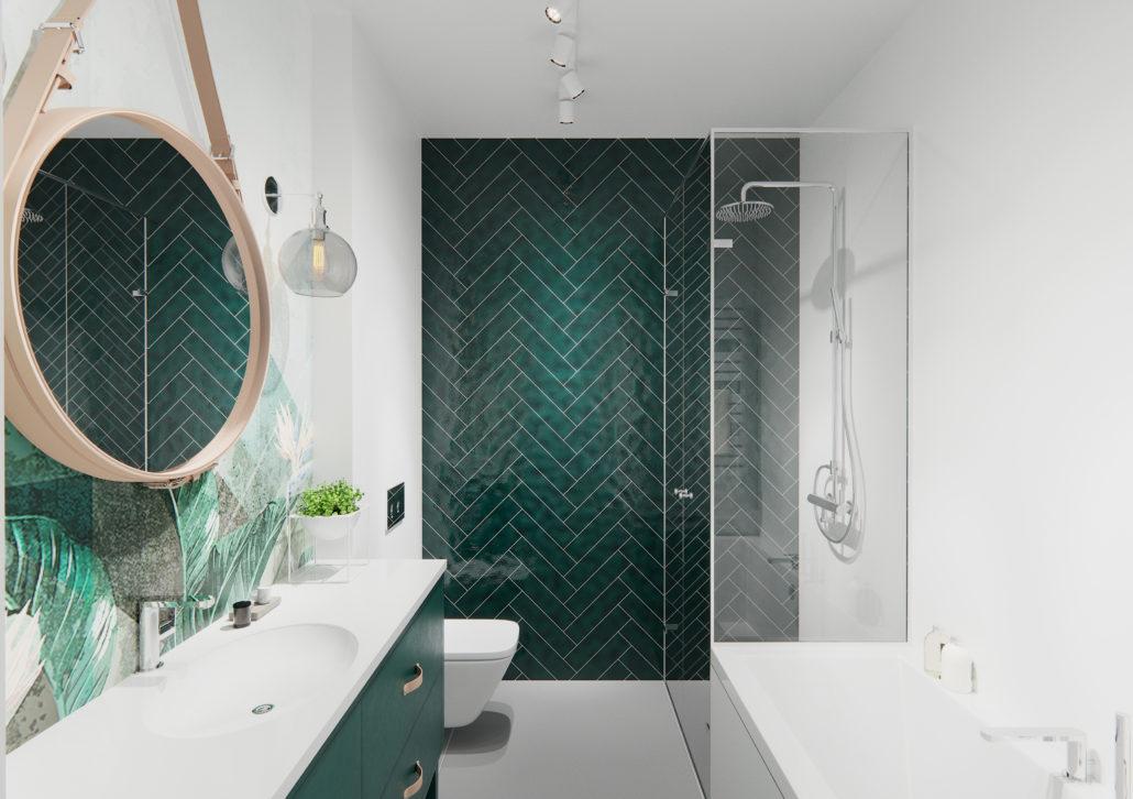 Kafelki w kolorze butelkowej zieleni ułożone w strefie prysznicowej | proj. Naboo