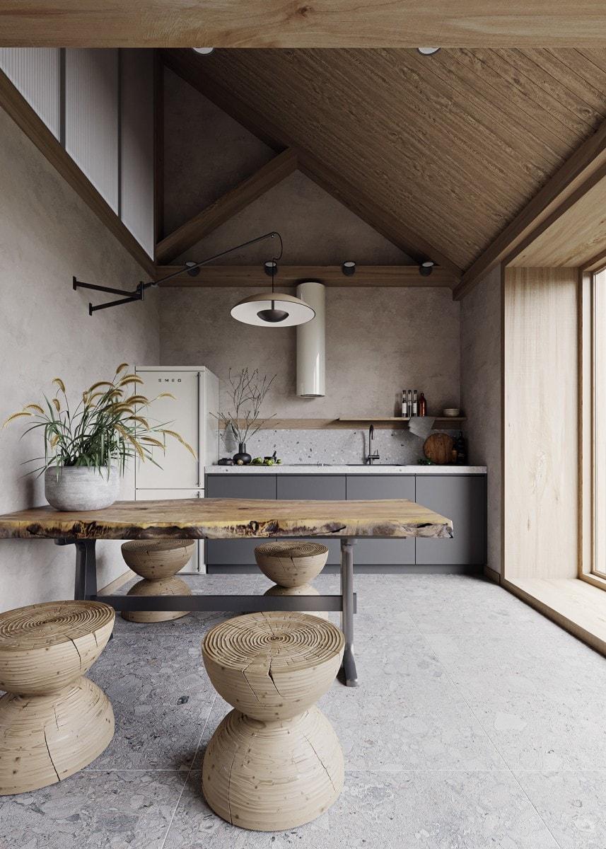 Modna kuchnia w odcieniach beżów i szarości z dodatkiem lastryko i drewna