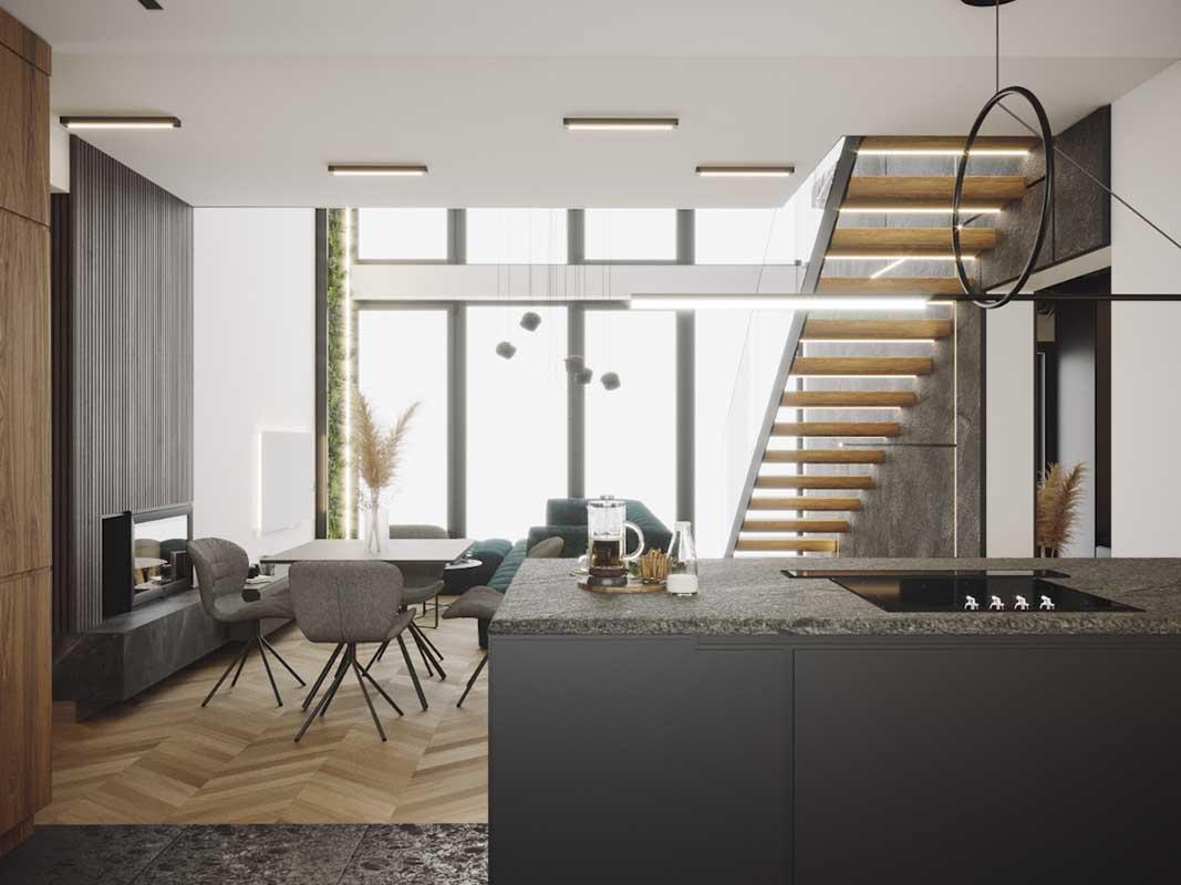 Kuchnia otwarta na salon | proj. Natalia Pęcka Dezeen Architekci