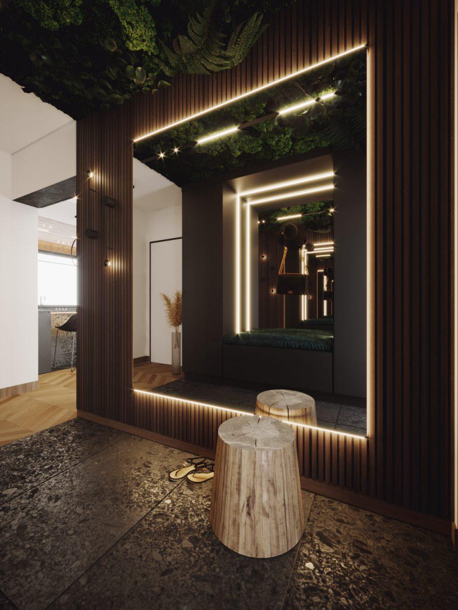Oświetlenie Archlines marki SternLight w projekcie przedpokoju | proj. Natalia Pęcka Dezeen Architekci