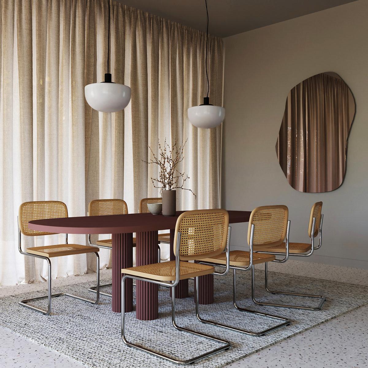 Beżowa jadalnia z krzesłami w stylu Bauhaus
