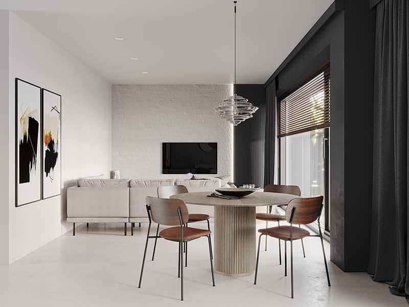 Qbatura projekt nowoczesnego wnętrza - otwarta przestrzeń