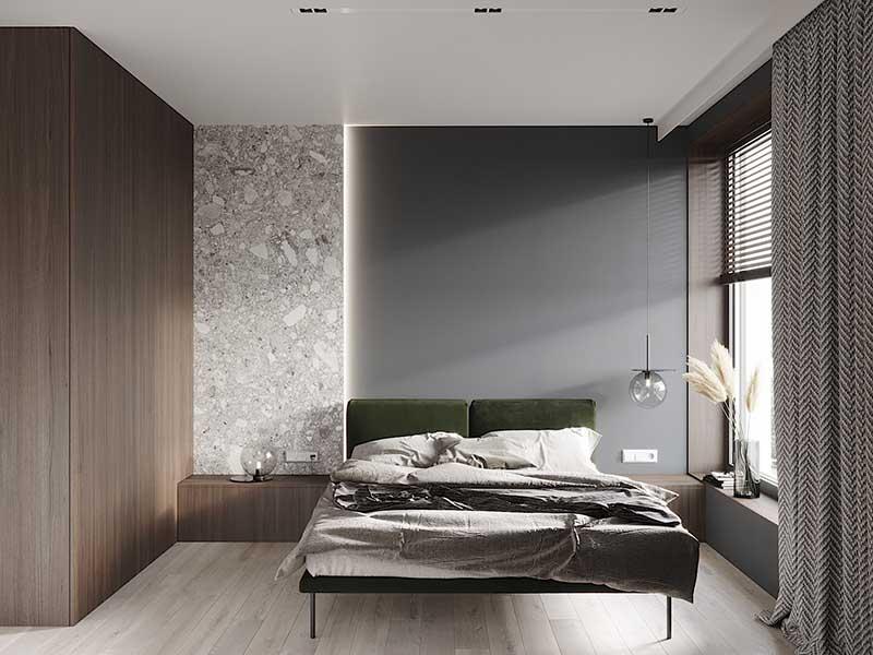 Qbatura projekt nowoczesnego wnętrza - sypialnia