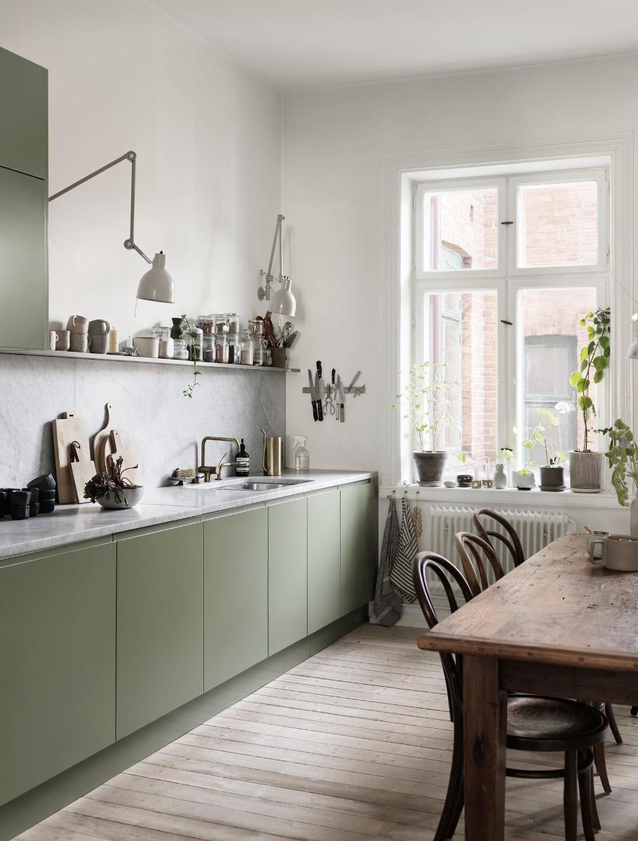 Zielona kuchnia doskonale koresponduje ze stylem eko