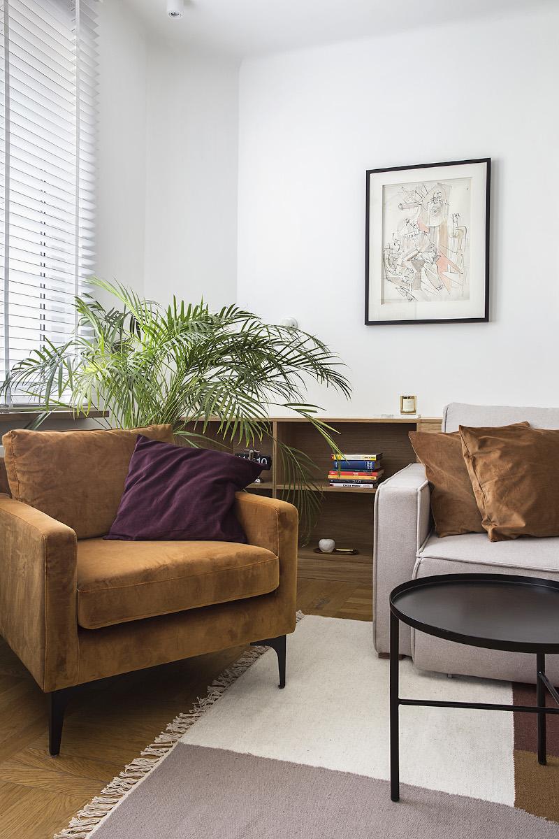 Musztardowy fotel z fioletową poduszką doskonale dopełnia aranżację niewielkiego salonu | proj. Schudy Studio