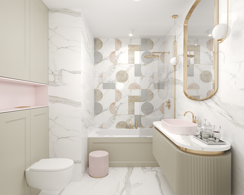 Projekt łazienki MARE ART Interiors  | Ceramika Hushlab | Płytki Ornamenta