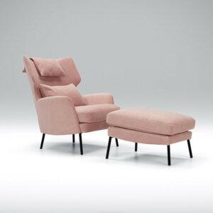 Sits Fotel Alex z podnóżkiem różowy