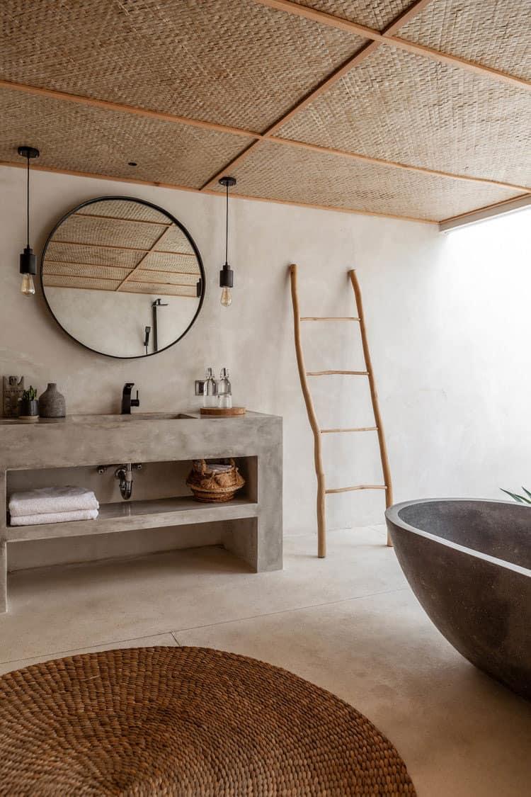 Beżowa łazienka w organicznym klimacie