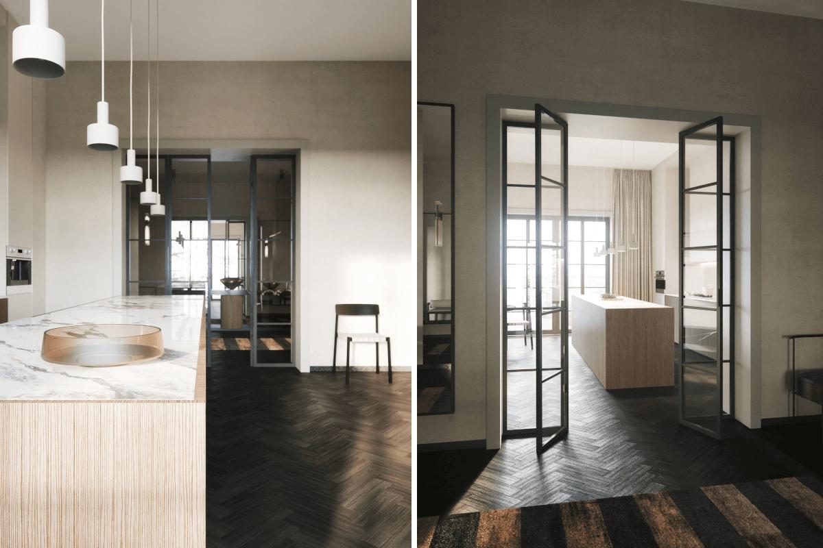 Marmur i drewno - te szlachetne materiały idealnie dopełniają nude wnętrza