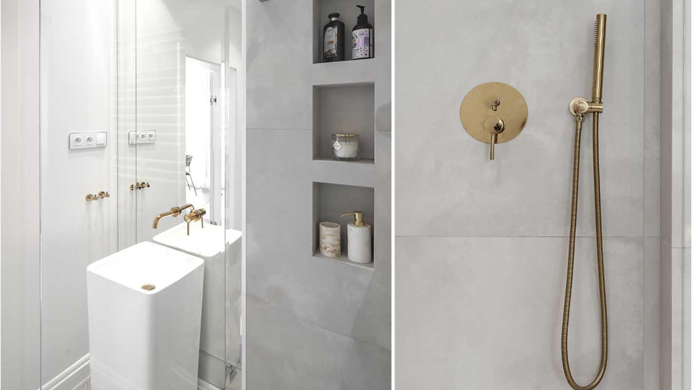 Szara łazienka ze złotą armaturą | proj. Marika Kafar Autorska Pracownia Architektury Wnętrz