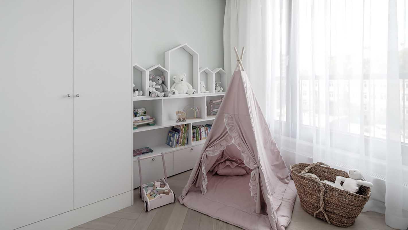 Pokój dziecięcy z namiotem tipi | proj. Marika Kafar Autorska Pracownia Architektury Wnętrz