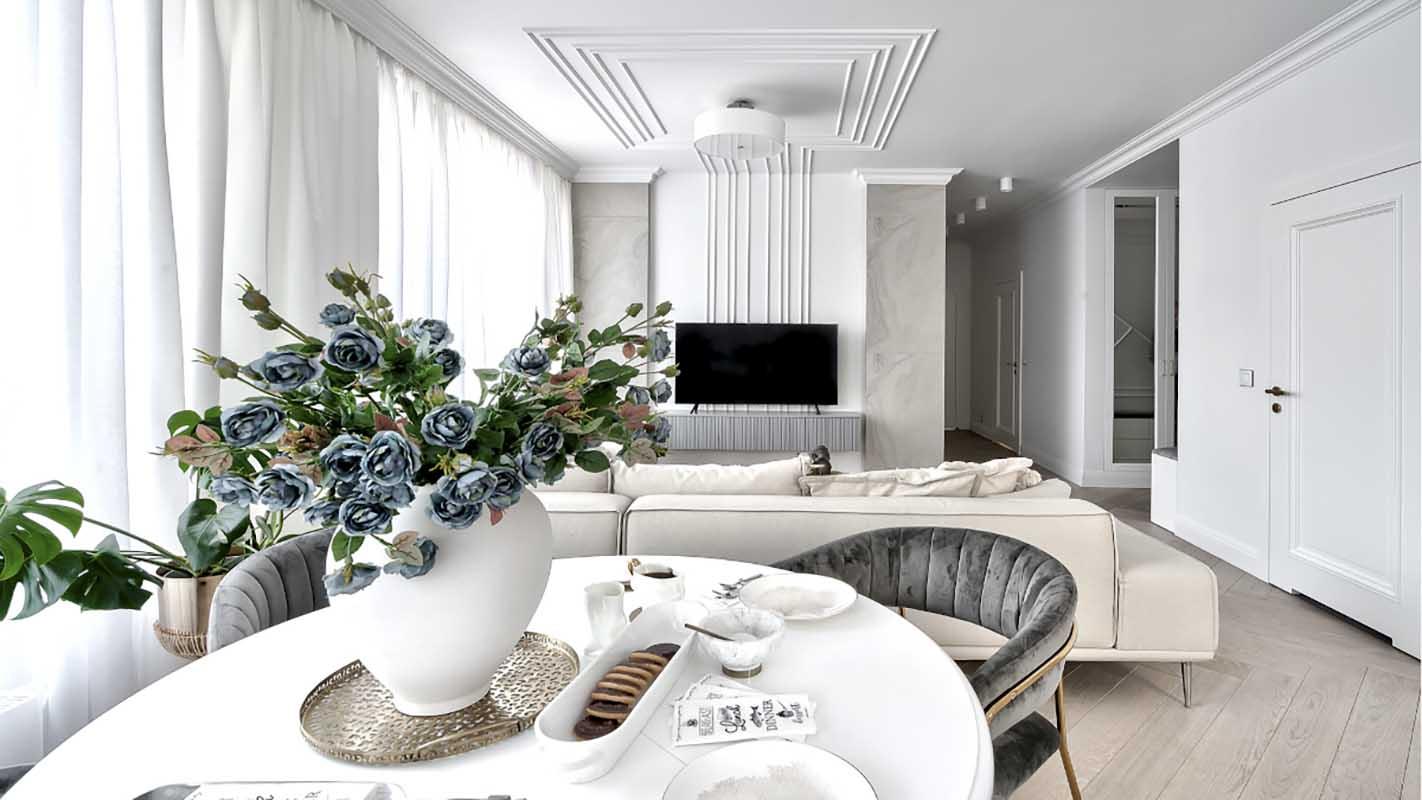 Salon z jadalnią | proj. Marika Kafar Autorska Pracownia Architektury Wnętrz