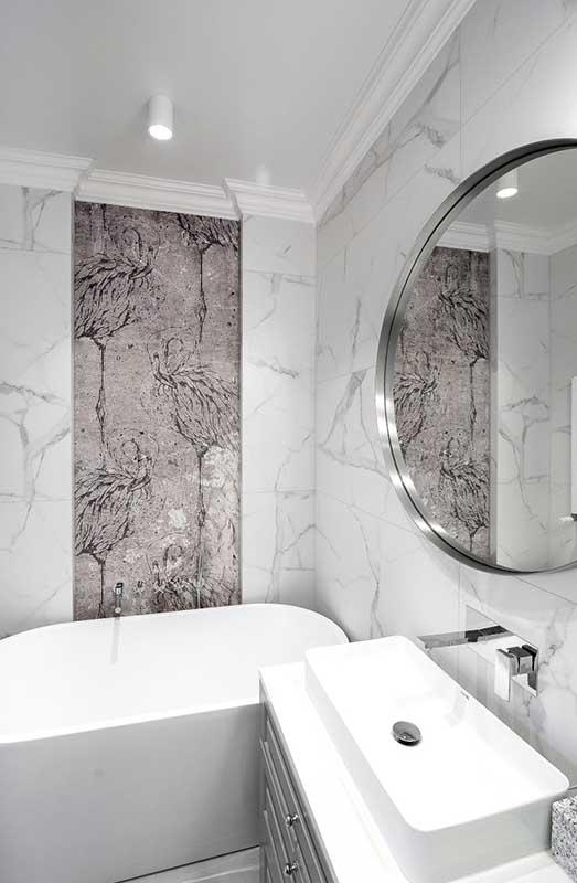 Mała łazienka z wanną wolnostojącą | proj. Marika Kafar Autorska Pracownia Architektury Wnętrz