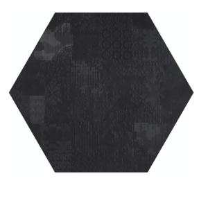 Płytki Mutina kolekcja Dechirer Esagono Decor Ner 60 x 60 cm
