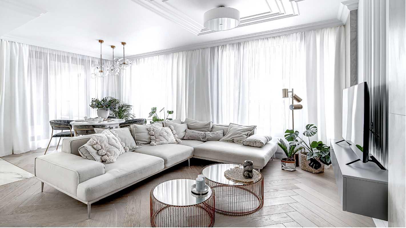 Jasny salon | proj. Marika Kafar Autorska Pracownia Architektury Wnętrz