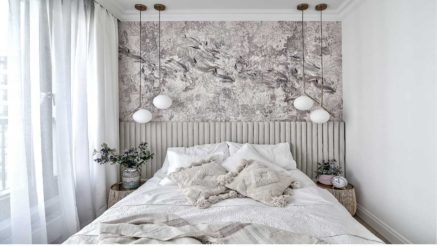 Przytulna sypialnia z tapetą | proj. Marika Kafar Autorska Pracownia Architektury Wnętrz