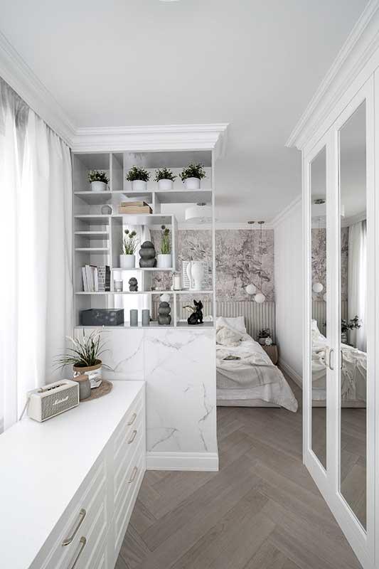 Sypialnia z garderobą | proj. Marika Kafar Autorska Pracownia Architektury Wnętrz