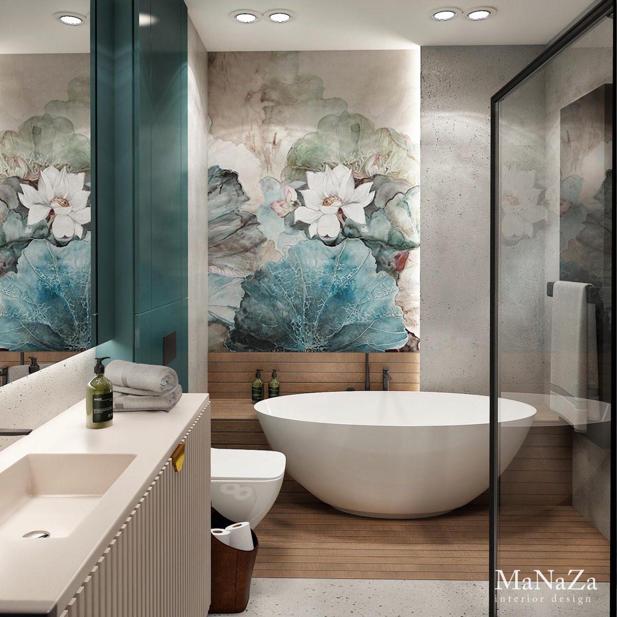 W towarzystwie betonu drewno i tapeta wodoodporna od Wall & Deco | proj. Manaza