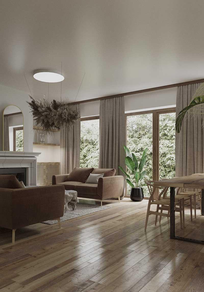 Salon w stylu boho w 230 metrowym domu | Proj; Studio Rysik