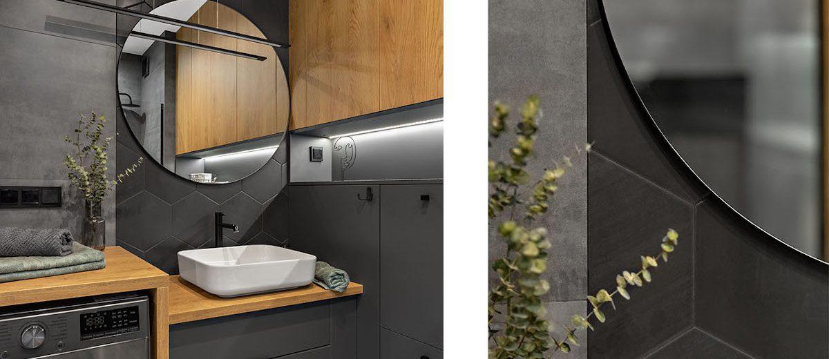 Szaro - drewniana łazienka | proj. Prosty Układ, zdj. DEKORIALOVE