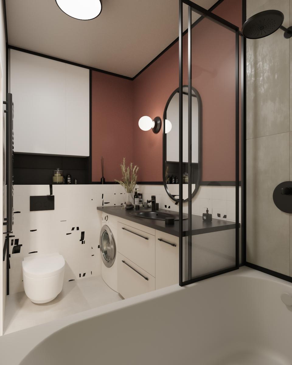 Mała łazienka z pralką   proj. Rysik Studio