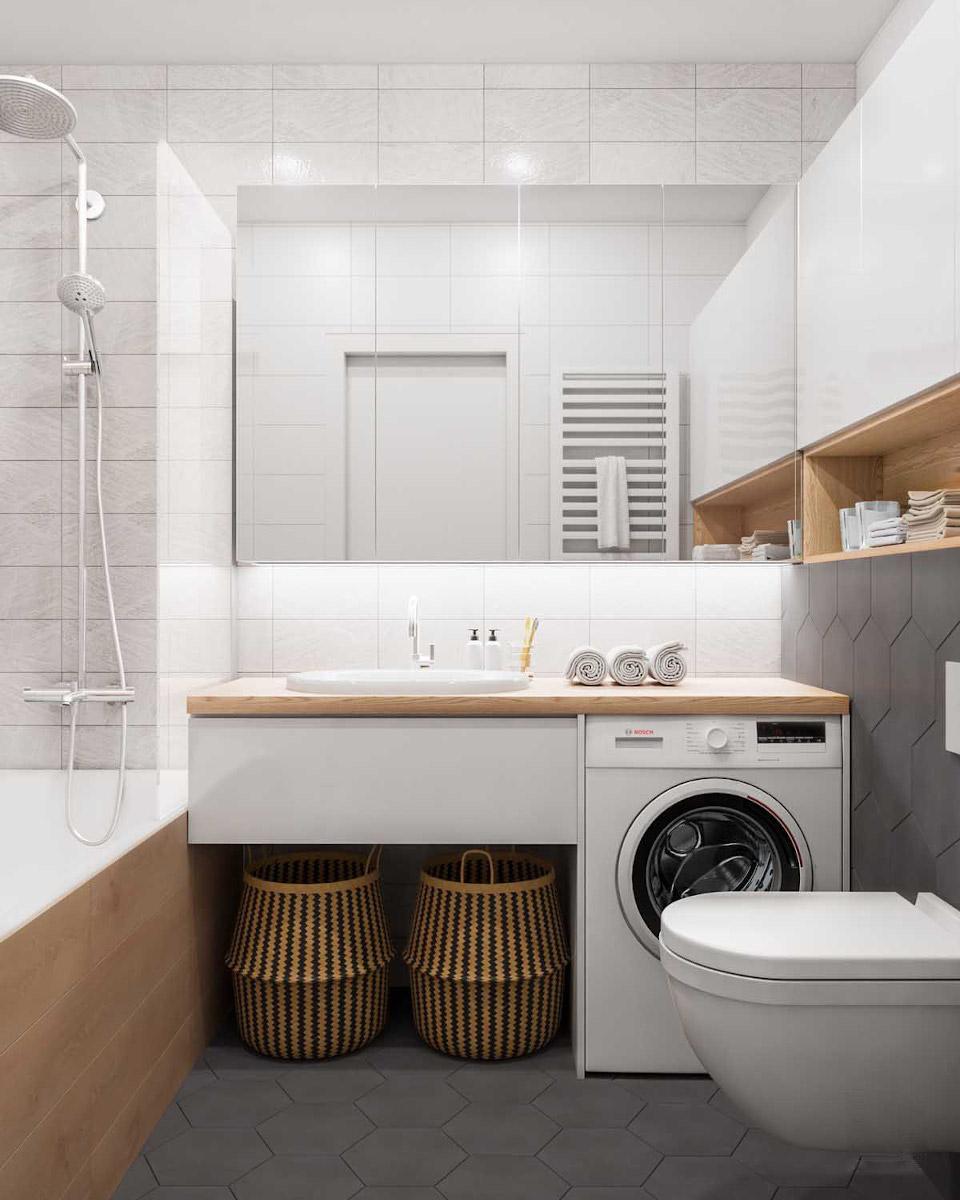 Zróżnicowane kształty płytek odwracają uwagę od pralki