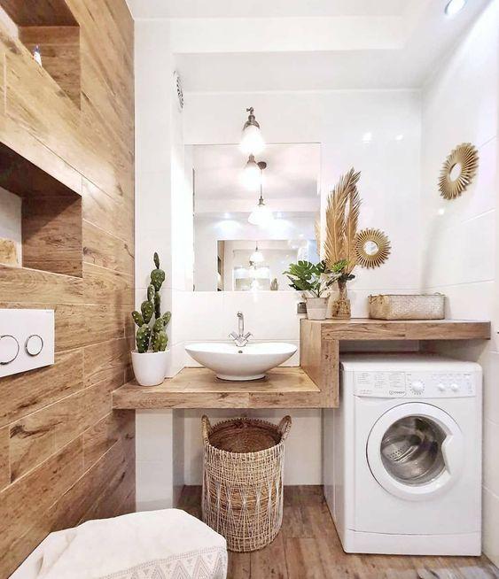 Propozycja aranżacji małej łazienki z pralką