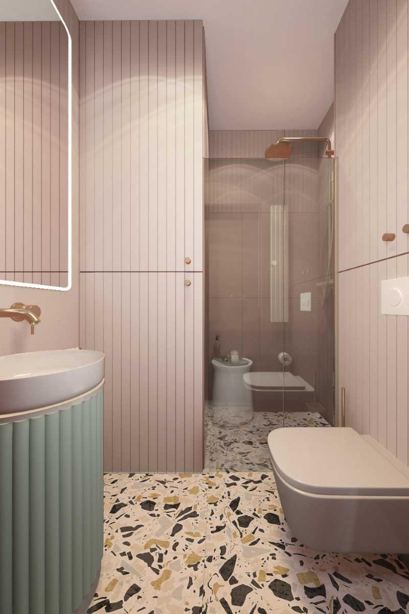 Mała łazienka z ukrytą pralką i suszarką   proj. COI Pracownia Architektury Wnętrz