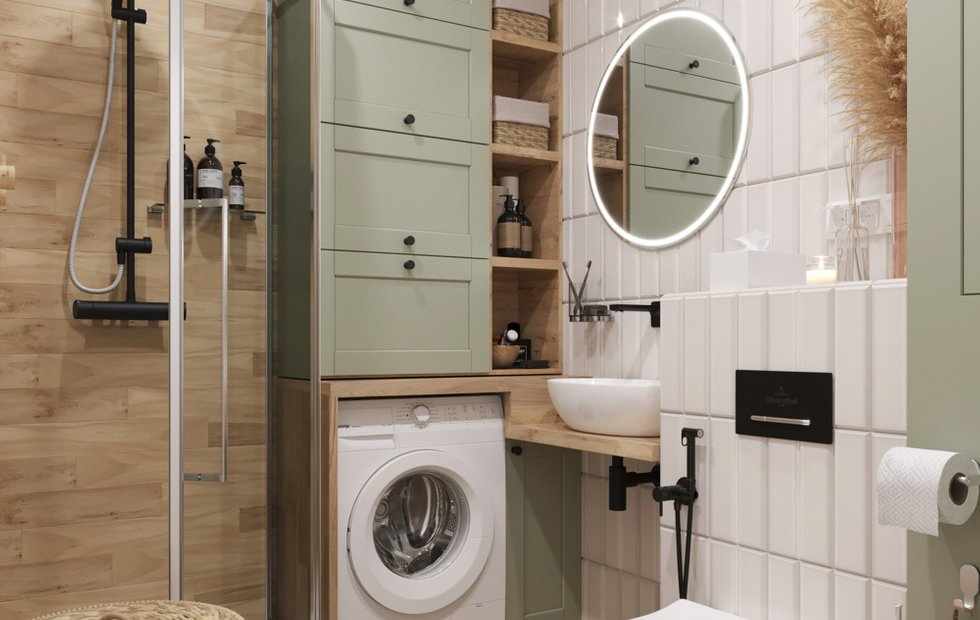 Pomysł na małą łazienkę z pralką