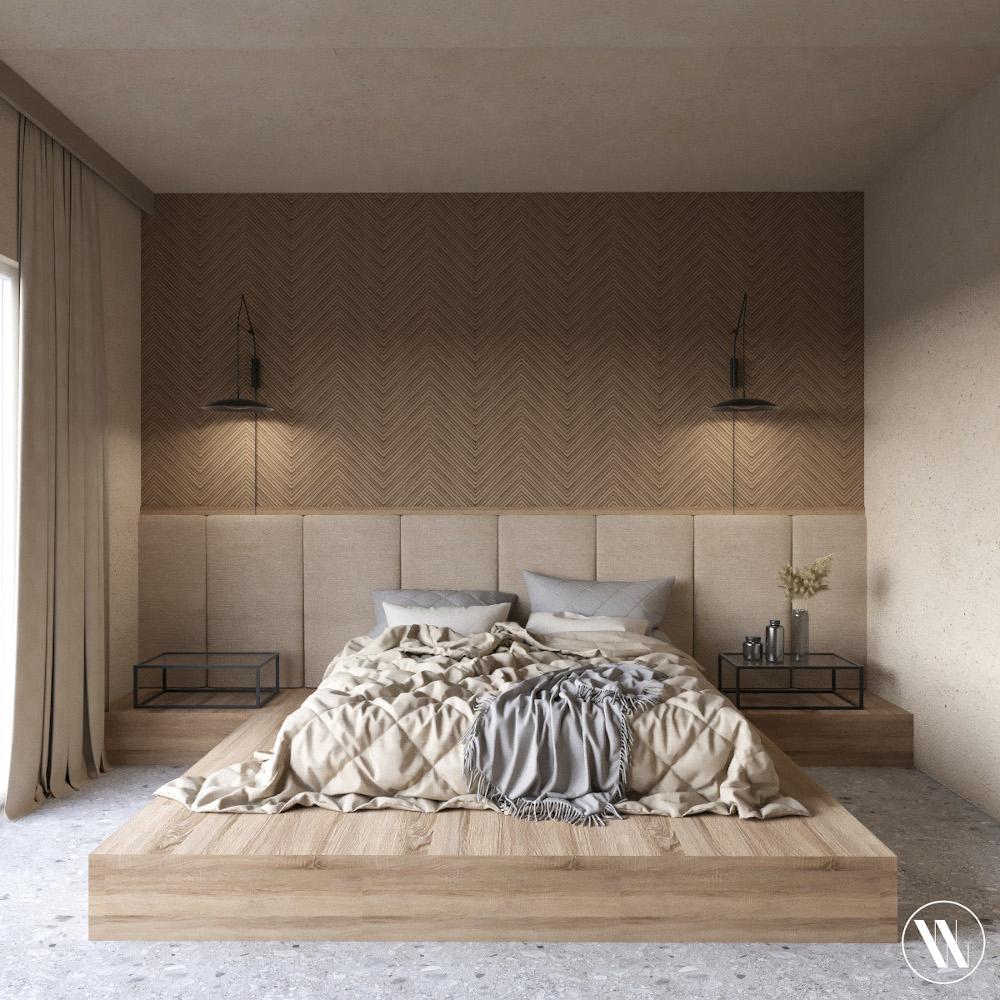 Sypialnia w stylu organicznego minimalizmu | proj. Weronika Wodczak