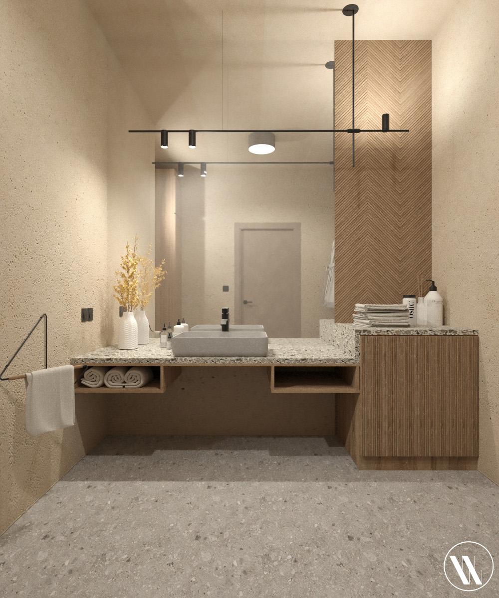 Łazienka w duchu organicznego minimalizmu | proj. Weronika Wodczak