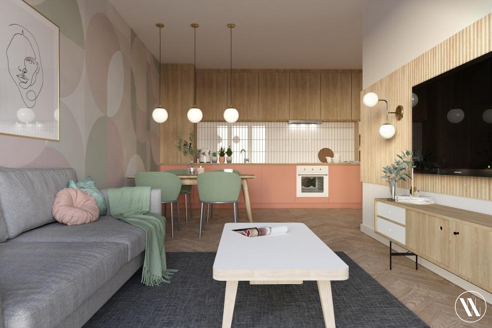 Salon w stylu organicznego minimalizmu | proj. Weronika Wodczak