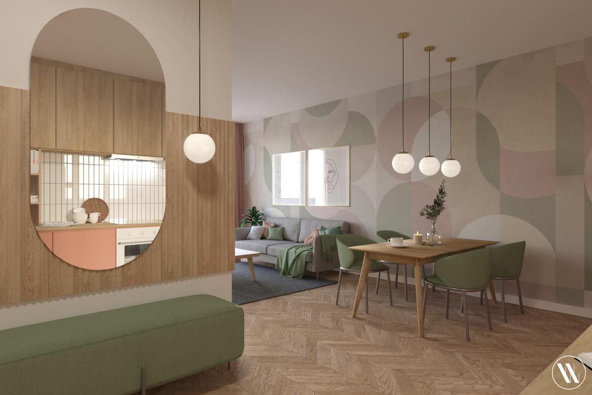 Strefa dzienna w stylu organicznego minimalizmu | proj. Weronika Wodczak