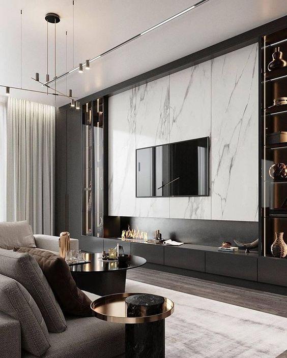 Ściana telewizyjna z płytek wielkoformatowych