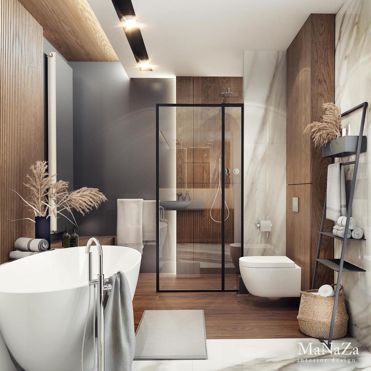 Projekt łazienki z wanną i prysznicem | proj. Manaza