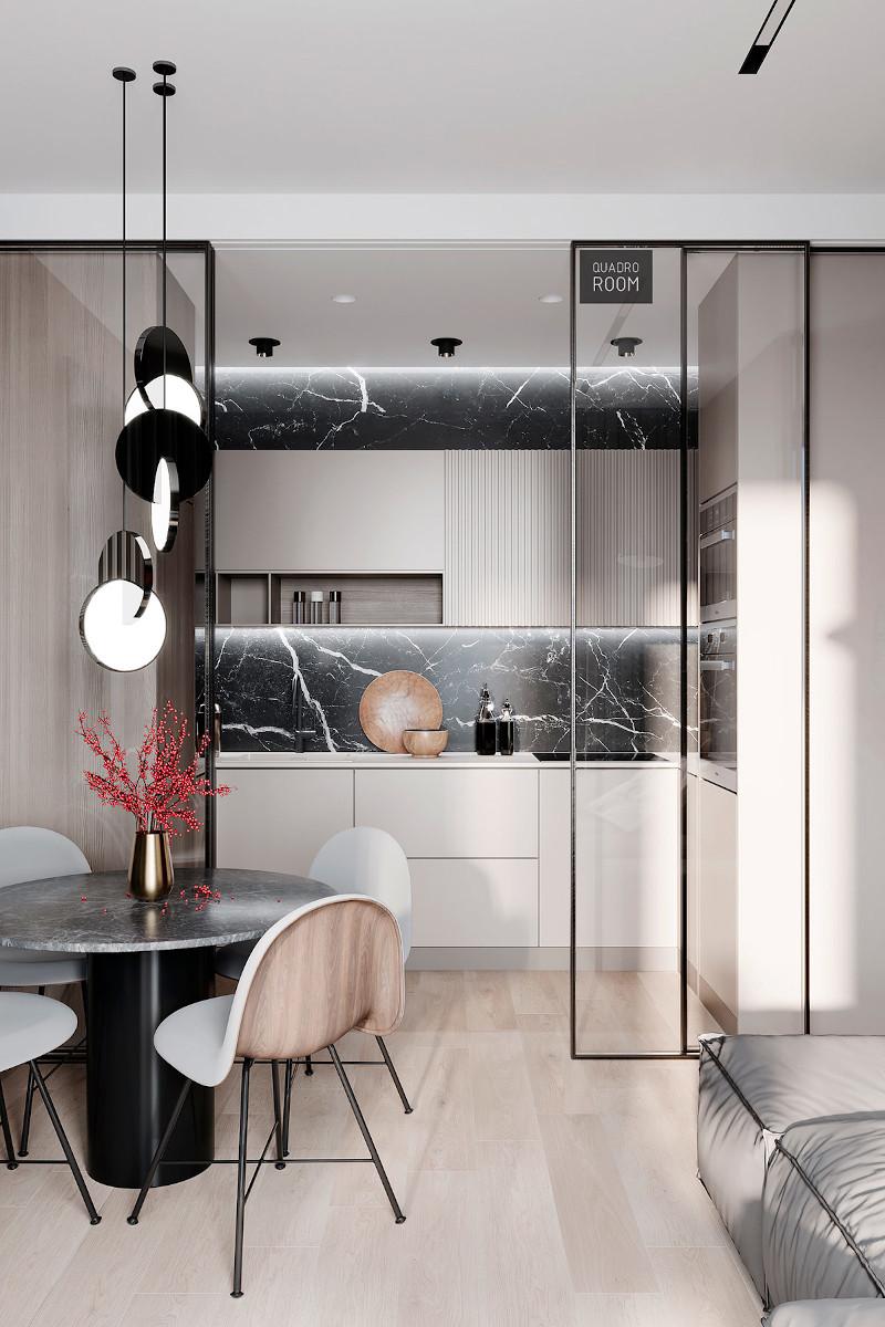 Salon z małym aneksem kuchennym w wielkim stylu