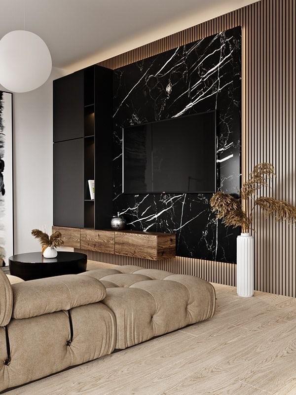 Luksusowa ściana z płytek wielkoformatowych