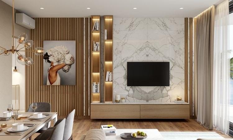 Projekt salonu: połączenie drewna i marmuru