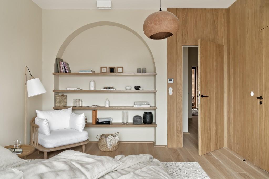 Sypialnia w stylu japandi | proj. Finchstudio